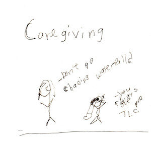 """An image depicting two stick figures of Marc and Jan stand together. Marc says, """"You give me lots of TLC"""" and Jan replies """"Don't go chasing waterfalls!"""" Caregiving is also written above the scene."""