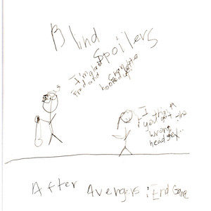 """An image depicting a stick figure of Marc saying """"I'm glad that Fred and Charlotte hooked up!"""" Jan's stick figure replies, """"I think you got the wrong headset."""" """"After Avengers: end Game"""" is written below the scene while """"Blind Spoilers"""" is written above it."""