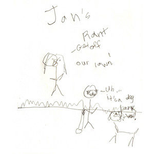 """An image depicts stick figures of Marc and Jan standing in the grass. Jan yells """"Get off our lawn!"""" and Marc responds, """"Um... it's a dog."""" On the right side of the image, a stick figure dog says """"Bark Woof!"""" Jan's Rant is written above the scene."""