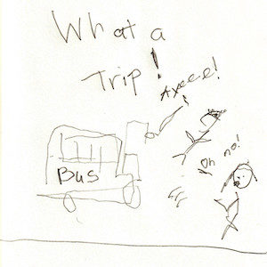 """An image depicts a stick figure of Marc yelling """"Ayeee!"""" as he falls off A bus on the left side of the scene. Standing on the right, a stick figure of Jan yells, """"Oh no!"""" The words """"What A Trip!"""" are written in big letters at the top of the page."""