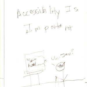 """An image depicts a computer sitting on a table with the words """"Missile Armed"""" on its monitor. Standing on the right, a stick figure of Marc says, """"Um... Jan?"""" The words """"Accessibility Is Important"""" are written above the scene."""