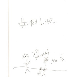 """The image depicts a stick figure of Jan saying """"I love Podisodes!"""" with a heart symbol replacing the word """"love."""" On the right, a stick figure of Marc angrily yells, """"Stop it!"""" The hashtag """"#PodLife"""" is written in big letters above the scene."""