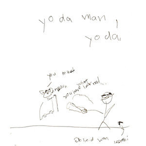 """An image depicts Yoda saying, """"You must unlearn what you have learned."""" On the right side, a stick figure of Marc holds his white cane in the air like a lightsaber as it glows. """"Yo da man, Yoda!"""" is written in big letters above the scene."""