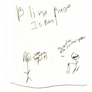 """An image depicts a stick figure of Jan on the left side asking, """"What happened to your leg?"""" A stick figure of Marc stands with a crooked leg on the right and replies, """"I tried to kick my computer."""" The words """"Blind Rage Is Real"""" are written in big letters above the scene."""