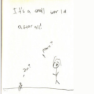 """An image depicts a mouse-sized stick figure of Marc on the left side saying, """"Jan?"""" On the right side, a normal-sized stick figure of Jan replies, """"Marc?"""" The words """"It's a small world after all"""" are written in big letters above the scene."""