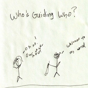 """An image depicts a stick figure of Jan on the left saying """"Oh no! The power is out!"""" to the right, a stick figure of Marc wears his sunglasses and holds his white cane while replying, """"Welcome to my world!"""" The phrase """"Who's Guiding Who?"""" is written in big letters above the scene."""