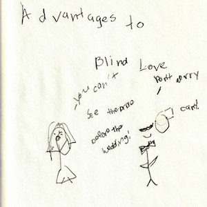 """An image depicts a stick figure of Jan in her wedding gown on the left as she says, """"you can't see the bride before the wedding!"""" On the right, a stick figure of Marc wearing a bowtie replies, """"don't worry, I can't!"""" The words """"Advantages Of Blind Love"""" are written in big letters above the scene."""