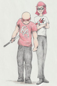 Marc is wearing a red mask, with a red shirt with the letters BA on it. He's also holding his cane like a weapon, ready to strike. Jan, however, has her arms crossed. She's sporting a red cap, red hair and a red mask. She also has a white shirt with a Red G and a black G on it. Both heroes are wearing black jeans and black shoes.
