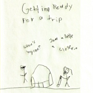 """An image depicts a stick figure of Marc wearing his sunglasses on the left as he asks, """"Where's my cane?"""" A couch has been moved in front of him and a stick figure of Jan stands with his white cane on the other side. She responds, """"Just a little bit closer..."""" The words """"Getting Ready For A Trip"""" are written in big letters above the scene."""