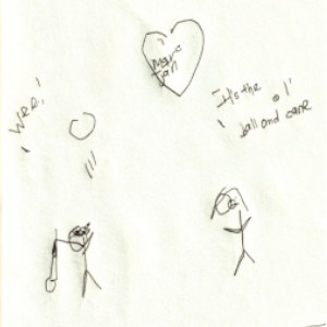 """An image depicts a stick figure of Marc wearing sunglasses on the left. He's holding his white cane, throwing a ball in the air and saying """"Wee!"""" On the right, a stick figure of Jan says, """"It's the ol' ball and cane."""" A heart with """"Marc + Jan"""" written in bigger letters inside is above the scene."""