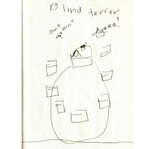 """An image depicts stick figures of Marc wearing sunglasses and Jan as they ride in a ferris wheel. In the cart at the top, Jan asks Marc, """"Isn't this fun?"""" He responds by yelling """"Ayeeeeeeeeeeeee!"""" Blind Terror is written in big letters above the scene."""
